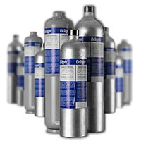 Dräger Mischgasflasche 60 L - CH4 2,5 Vol%, H2S 15 ppm, CO 50 ppm, O2 18 Vol% in N2